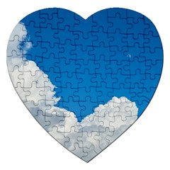 Sky Clouds Blue White Weather Air Jigsaw Puzzle (heart)