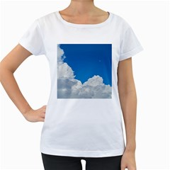 Sky Clouds Blue White Weather Air Women s Loose Fit T Shirt (white)