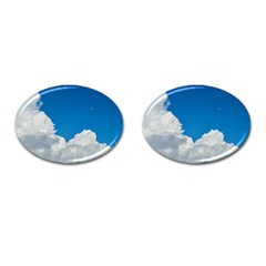 Sky Clouds Blue White Weather Air Cufflinks (Oval)