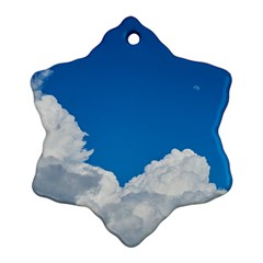 Sky Clouds Blue White Weather Air Snowflake Ornament (Two Sides)