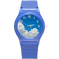 Sky Clouds Blue White Weather Air Round Plastic Sport Watch (s)