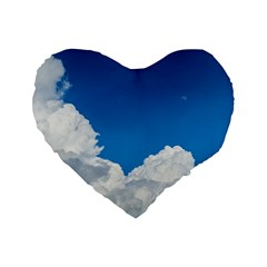 Sky Clouds Blue White Weather Air Standard 16  Premium Heart Shape Cushions