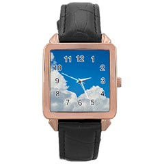 Sky Clouds Blue White Weather Air Rose Gold Leather Watch
