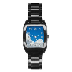 Sky Clouds Blue White Weather Air Stainless Steel Barrel Watch
