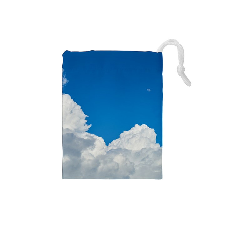 Sky Clouds Blue White Weather Air Drawstring Pouches (Small)