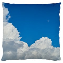 Sky Clouds Blue White Weather Air Large Flano Cushion Case (one Side)