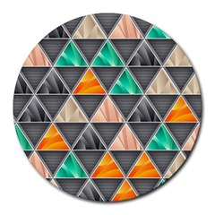 Abstract Geometric Triangle Shape Round Mousepads
