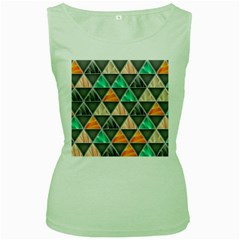Abstract Geometric Triangle Shape Women s Green Tank Top