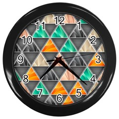 Abstract Geometric Triangle Shape Wall Clocks (black)
