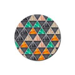 Abstract Geometric Triangle Shape Rubber Round Coaster (4 Pack)