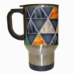 Abstract Geometric Triangle Shape Travel Mugs (White)