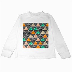 Abstract Geometric Triangle Shape Kids Long Sleeve T-Shirts