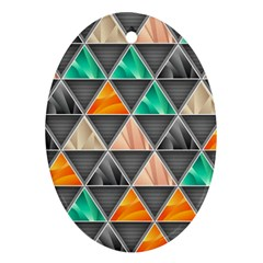 Abstract Geometric Triangle Shape Oval Ornament (Two Sides)