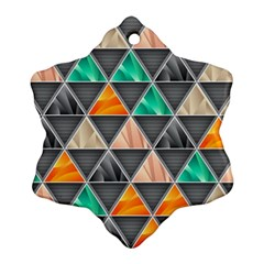 Abstract Geometric Triangle Shape Snowflake Ornament (Two Sides)