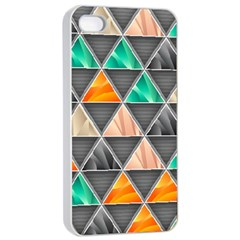 Abstract Geometric Triangle Shape Apple iPhone 4/4s Seamless Case (White)