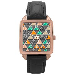 Abstract Geometric Triangle Shape Rose Gold Leather Watch