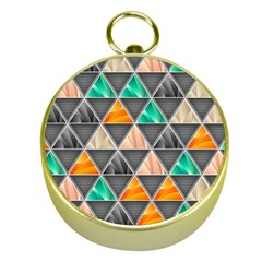 Abstract Geometric Triangle Shape Gold Compasses
