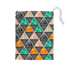 Abstract Geometric Triangle Shape Drawstring Pouches (Large)