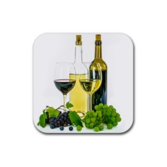 White Wine Red Wine The Bottle Rubber Square Coaster (4 Pack)