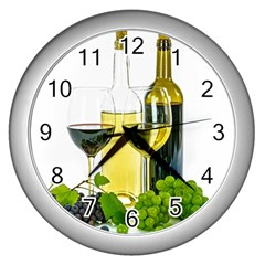 White Wine Red Wine The Bottle Wall Clocks (Silver)