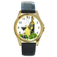 White Wine Red Wine The Bottle Round Gold Metal Watch