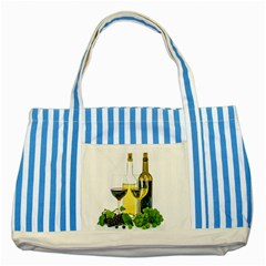 White Wine Red Wine The Bottle Striped Blue Tote Bag