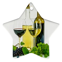 White Wine Red Wine The Bottle Star Ornament (Two Sides)