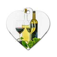 White Wine Red Wine The Bottle Dog Tag Heart (One Side)