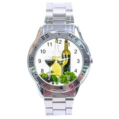 White Wine Red Wine The Bottle Stainless Steel Analogue Watch