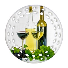 White Wine Red Wine The Bottle Round Filigree Ornament (two Sides)