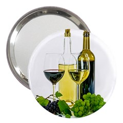 White Wine Red Wine The Bottle 3  Handbag Mirrors