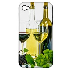 White Wine Red Wine The Bottle Apple iPhone 4/4S Hardshell Case (PC+Silicone)