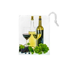White Wine Red Wine The Bottle Drawstring Pouches (small)