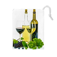 White Wine Red Wine The Bottle Drawstring Pouches (large)