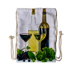 White Wine Red Wine The Bottle Drawstring Bag (Small)