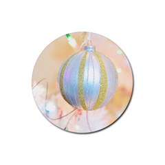 Sphere Tree White Gold Silver Rubber Coaster (Round)