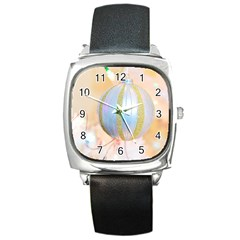 Sphere Tree White Gold Silver Square Metal Watch