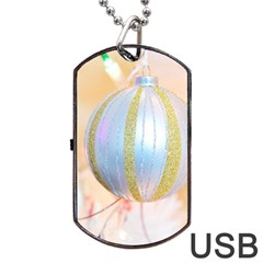 Sphere Tree White Gold Silver Dog Tag USB Flash (One Side)