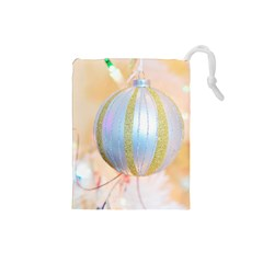 Sphere Tree White Gold Silver Drawstring Pouches (small)