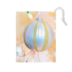 Sphere Tree White Gold Silver Drawstring Pouches (Large)