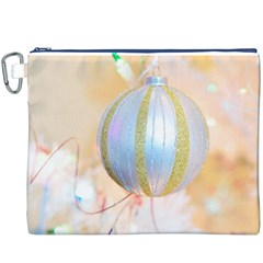 Sphere Tree White Gold Silver Canvas Cosmetic Bag (XXXL)