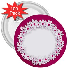 Photo Frame Transparent Background 3  Buttons (100 Pack)