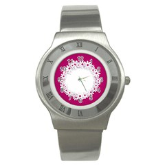 Photo Frame Transparent Background Stainless Steel Watch