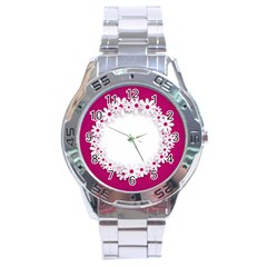 Photo Frame Transparent Background Stainless Steel Analogue Watch