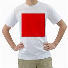 Solid Christmas Red Velvet Men s T Shirt (white) (two Sided)