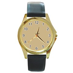 Solid Christmas Gold Round Gold Metal Watch