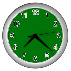 Solid Christmas Green Velvet Classic Colors Wall Clocks (Silver)