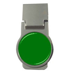 Solid Christmas Green Velvet Classic Colors Money Clips (Round)