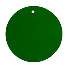 Solid Christmas Green Velvet Classic Colors Round Ornament (Two Sides)