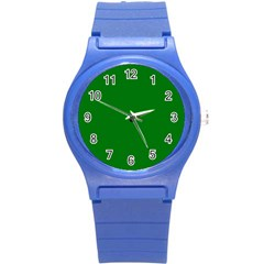 Solid Christmas Green Velvet Classic Colors Round Plastic Sport Watch (S)